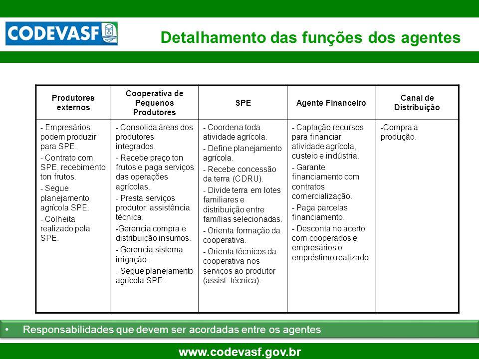 13 www.codevasf.gov.br Detalhamento das funções dos agentes Produtores externos Cooperativa de Pequenos Produtores SPEAgente Financeiro Canal de Distr