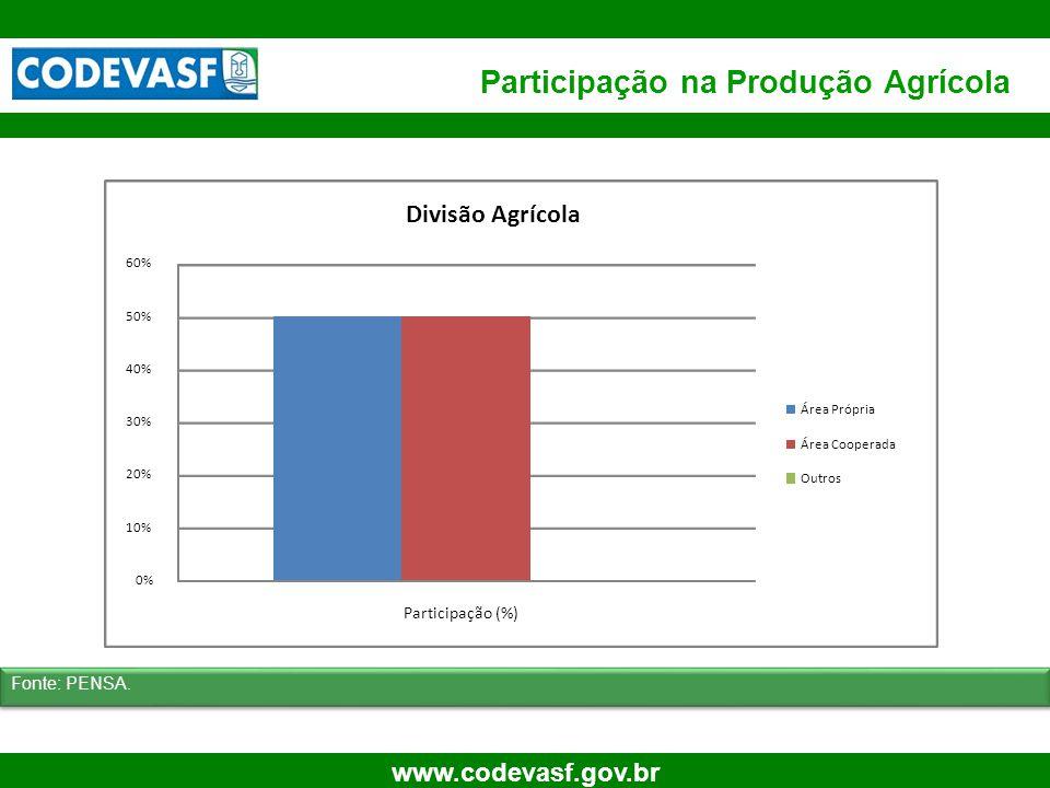 15 www.codevasf.gov.br Participação na Produção Agrícola Fonte: PENSA. 0% 10% 20% 30% 40% 50% 60% Participação (%) Divisão Agrícola Área Própria Área