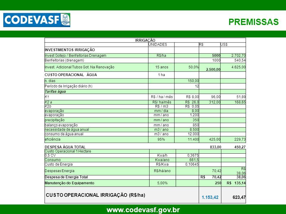 20 www.codevasf.gov.br PREMISSAS IRRIGAÇÃO UNIDADES R$US$ INVESTIMENTOS IRRIGAÇÃO Invest Gotejo / Benfeitorias DrenagemR$/ha 5000 2.702,70 Benfeitoria