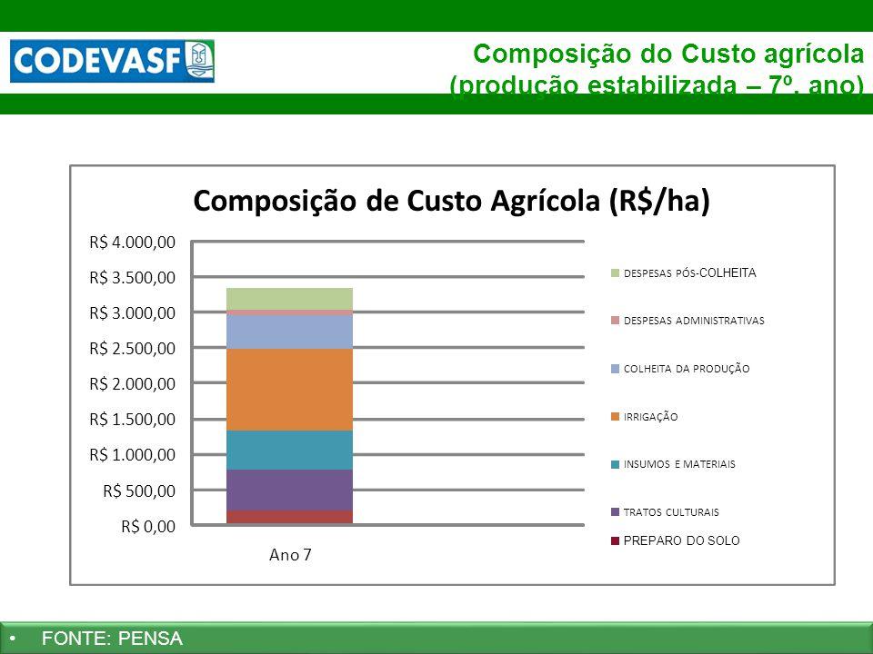 29 www.codevasf.gov.br Composição do Custo agrícola (produção estabilizada – 7º. ano) FONTE: PENSA R$ 0,00 R$ 500,00 R$ 1.000,00 R$ 1.500,00 R$ 2.000,