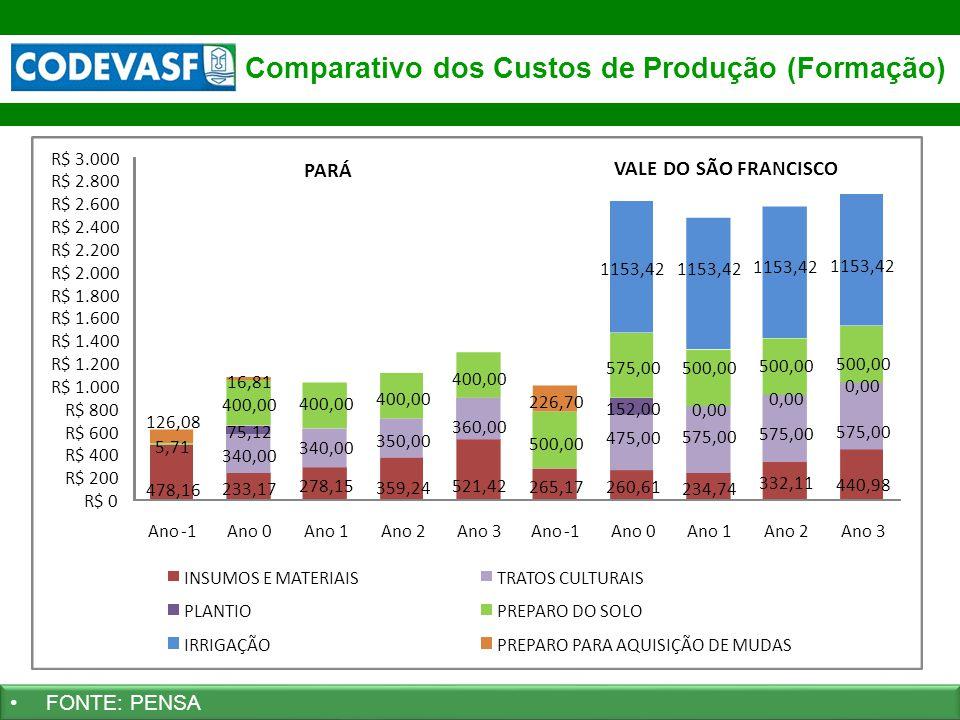 38 www.codevasf.gov.br Comparativo dos Custos de Produção (Formação) FONTE: PENSA 478,16 233,17 278,15 359,24 521,42 265,17260,61 234,74 332,11 440,98