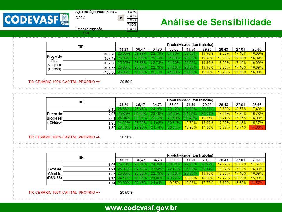 44 www.codevasf.gov.br Análise de Sensibilidade TIR Produtividade (ton fruto/ha) 38,2936,4734,7333,0831,5029,9328,4327,0125,66 Preço do Óleo Vegetal (