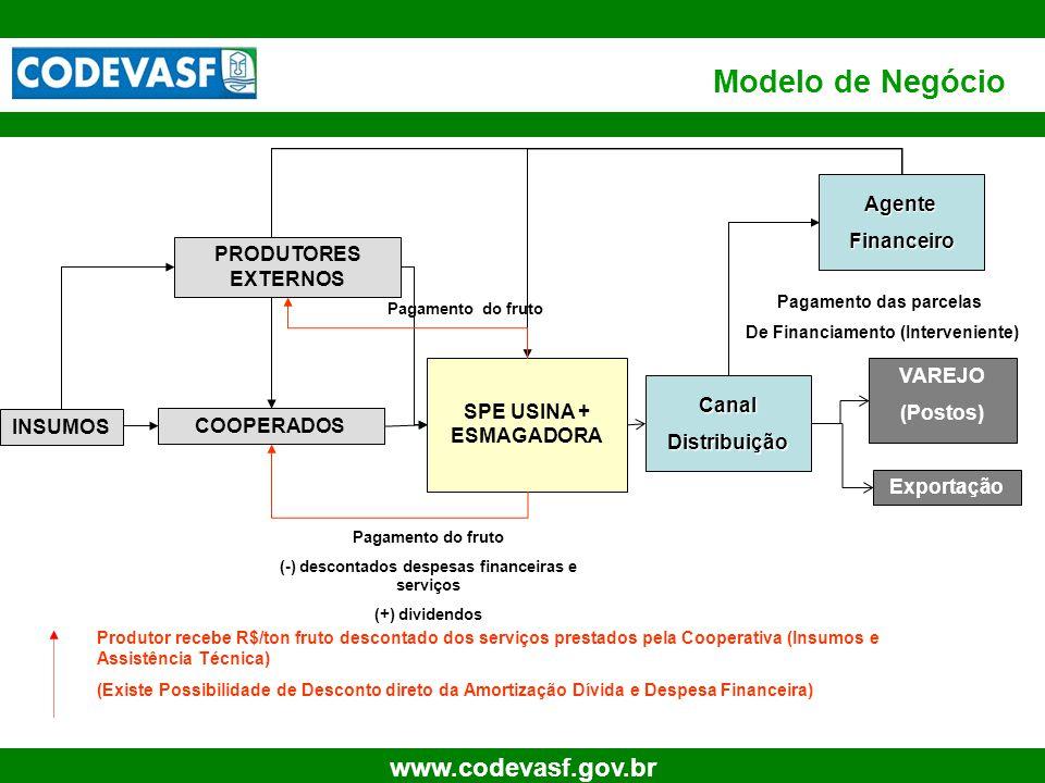 50 www.codevasf.gov.br Modelo de Negócio SPE USINA + ESMAGADORA VAREJO (Postos) INSUMOS Produtor recebe R$/ton fruto descontado dos serviços prestados