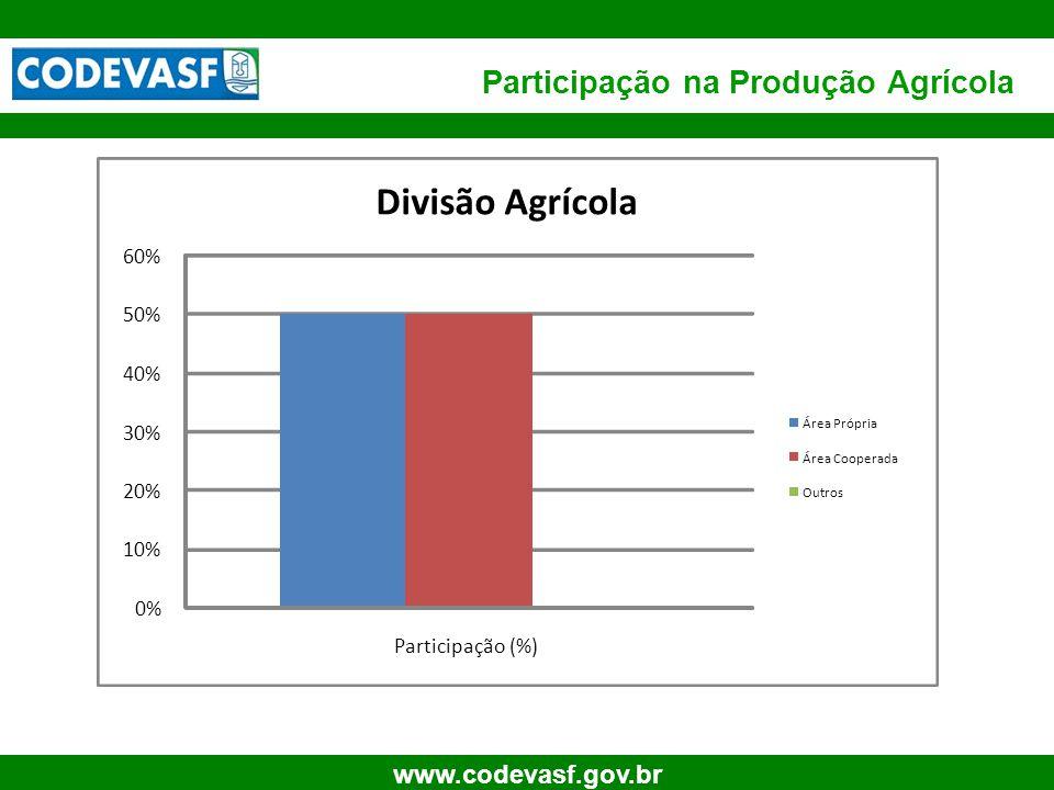 57 www.codevasf.gov.br Participação na Produção Agrícola 0% 10% 20% 30% 40% 50% 60% Participação (%) Divisão Agrícola Área Própria Área Cooperada Outr