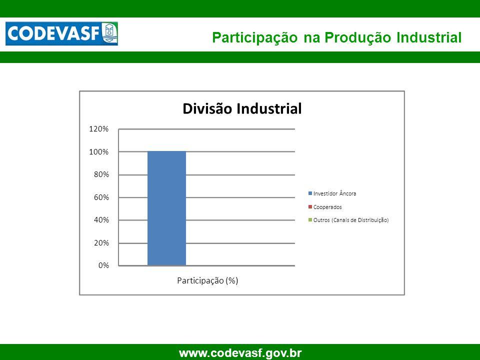 62 www.codevasf.gov.br Participação na Produção Industrial 0% 20% 40% 60% 80% 100% 120% Participação (%) Divisão Industrial Investidor Âncora Cooperad