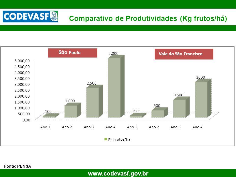 70 www.codevasf.gov.br Comparativo de Produtividades (Kg frutos/há) Fonte: PENSA 0,00 500,00 1.000,00 1.500,00 2.000,00 2.500,00 3.000,00 3.500,00 4.0