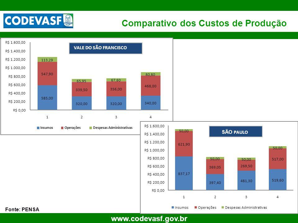 72 www.codevasf.gov.br Comparativo dos Custos de Produção Fonte: PENSA 585,00 320,00 340,00 547,90 339,50 356,00 468,00 113,29 65,95 67,60 80,80 R$ 0,
