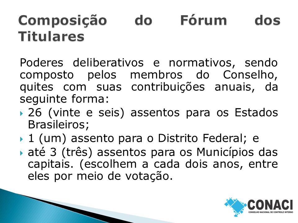 Poderes deliberativos e normativos, sendo composto pelos membros do Conselho, quites com suas contribuições anuais, da seguinte forma:  26 (vinte e seis) assentos para os Estados Brasileiros;  1 (um) assento para o Distrito Federal; e  até 3 (três) assentos para os Municípios das capitais.