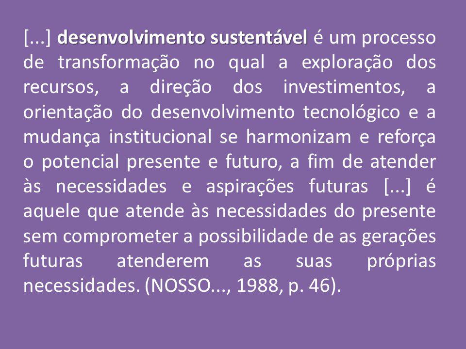 desenvolvimento sustentável [...] desenvolvimento sustentável é um processo de transformação no qual a exploração dos recursos, a direção dos investim