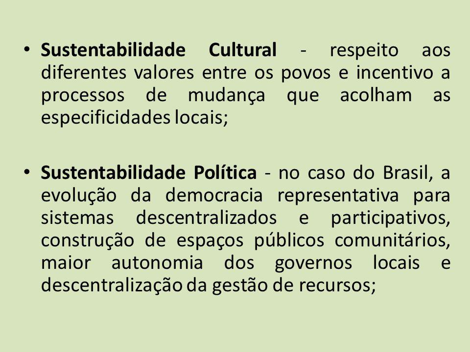 Sustentabilidade Cultural - respeito aos diferentes valores entre os povos e incentivo a processos de mudança que acolham as especificidades locais; S