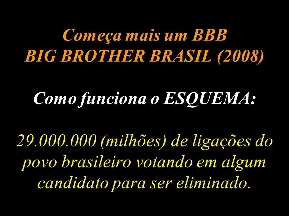 Começa mais um BBB BIG BROTHER BRASIL (2008) Como funciona o ESQUEMA: 29.000.000 (milhões) de ligações do povo brasileiro votando em algum candidato para ser eliminado.