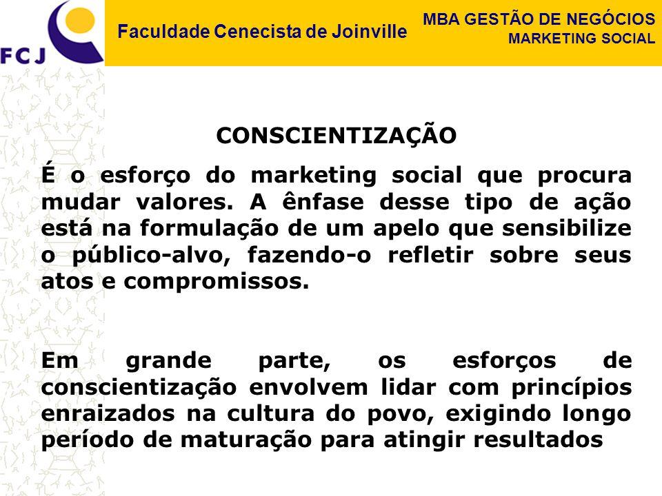 Faculdade Cenecista de Joinville MBA GESTÃO DE NEGÓCIOS MARKETING SOCIAL CONSCIENTIZAÇÃO É o esforço do marketing social que procura mudar valores.