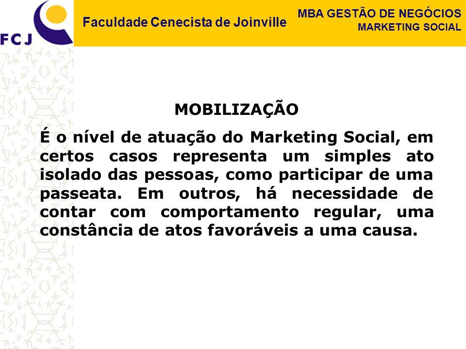 Faculdade Cenecista de Joinville MBA GESTÃO DE NEGÓCIOS MARKETING SOCIAL MOBILIZAÇÃO É o nível de atuação do Marketing Social, em certos casos representa um simples ato isolado das pessoas, como participar de uma passeata.