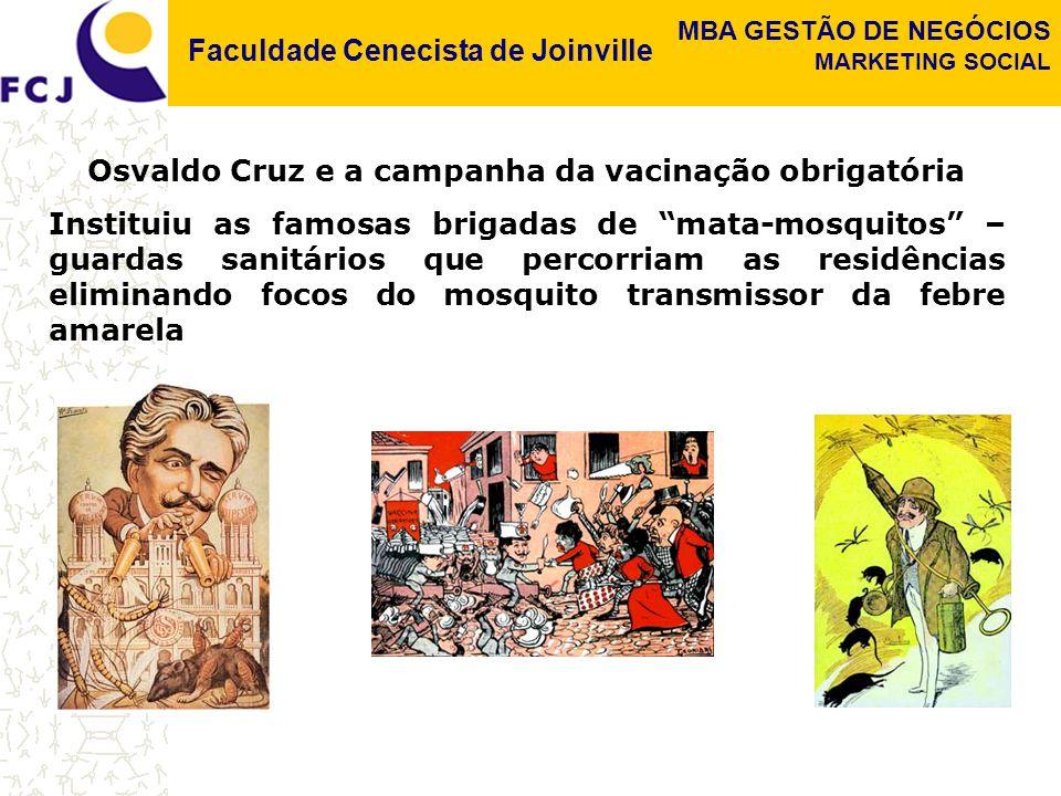 Faculdade Cenecista de Joinville MBA GESTÃO DE NEGÓCIOS MARKETING SOCIAL Osvaldo Cruz e a campanha da vacinação obrigatória Instituiu as famosas brigadas de mata-mosquitos – guardas sanitários que percorriam as residências eliminando focos do mosquito transmissor da febre amarela