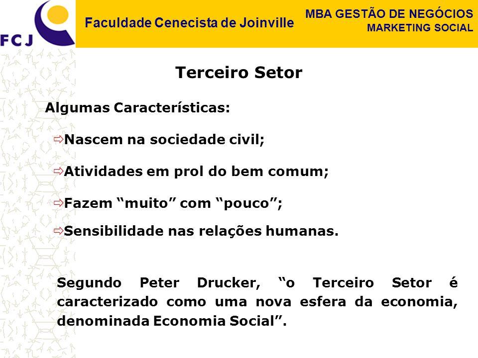 Faculdade Cenecista de Joinville MBA GESTÃO DE NEGÓCIOS MARKETING SOCIAL  Atividades em prol do bem comum; Algumas Características:  Nascem na sociedade civil;  Fazem muito com pouco ;  Sensibilidade nas relações humanas.