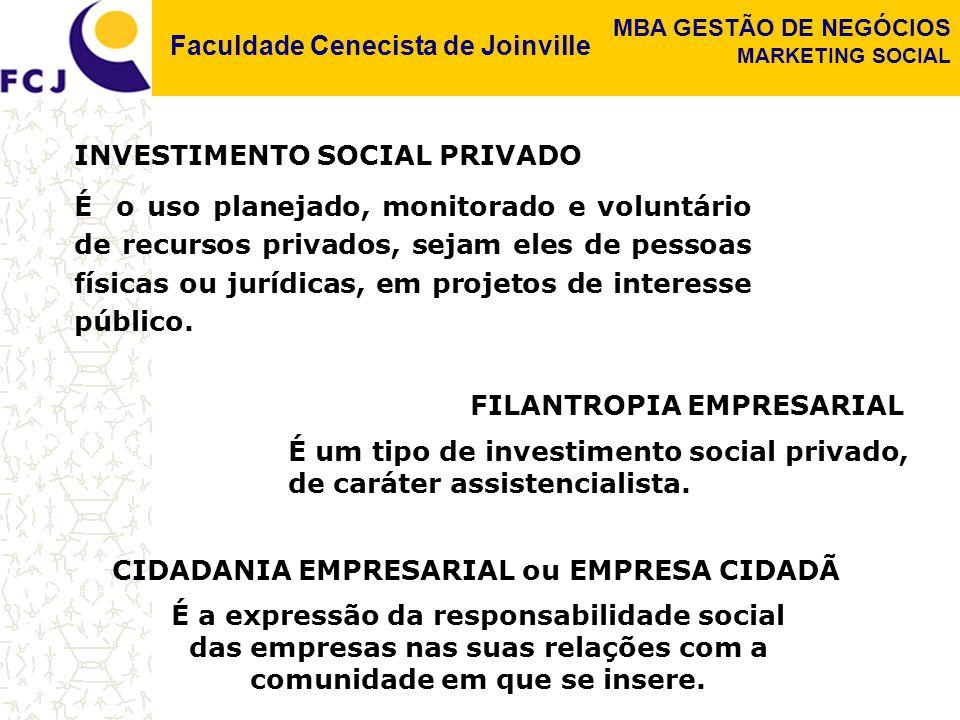 Faculdade Cenecista de Joinville MBA GESTÃO DE NEGÓCIOS MARKETING SOCIAL ELEMENTOS CENTRAIS DE UMA CAMPANHA DE MUDANÇA SOCIAL.