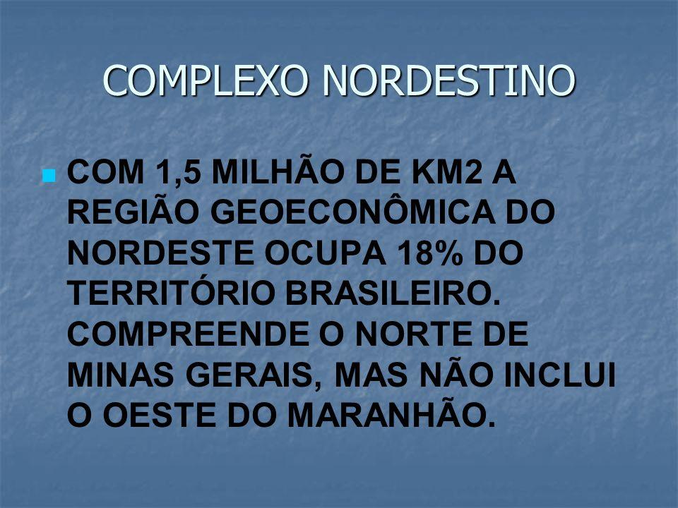 COMPLEXO NORDESTINO COM 1,5 MILHÃO DE KM2 A REGIÃO GEOECONÔMICA DO NORDESTE OCUPA 18% DO TERRITÓRIO BRASILEIRO. COMPREENDE O NORTE DE MINAS GERAIS, MA