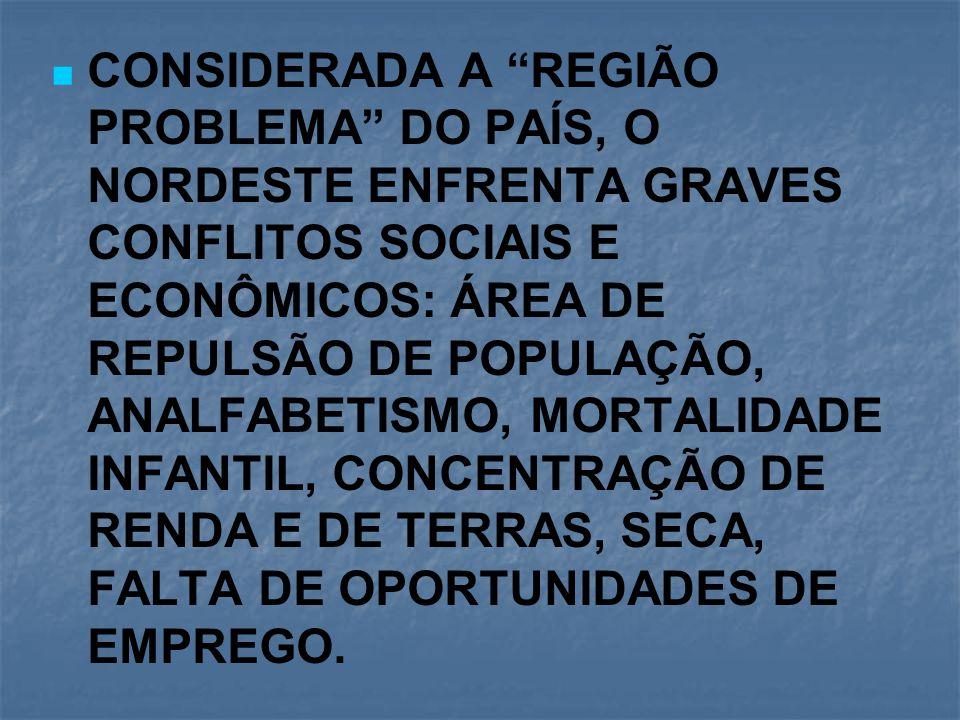 """CONSIDERADA A """"REGIÃO PROBLEMA"""" DO PAÍS, O NORDESTE ENFRENTA GRAVES CONFLITOS SOCIAIS E ECONÔMICOS: ÁREA DE REPULSÃO DE POPULAÇÃO, ANALFABETISMO, MORT"""