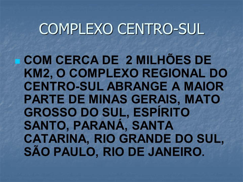 COMPLEXO CENTRO-SUL COM CERCA DE 2 MILHÕES DE KM2, O COMPLEXO REGIONAL DO CENTRO-SUL ABRANGE A MAIOR PARTE DE MINAS GERAIS, MATO GROSSO DO SUL, ESPÍRI