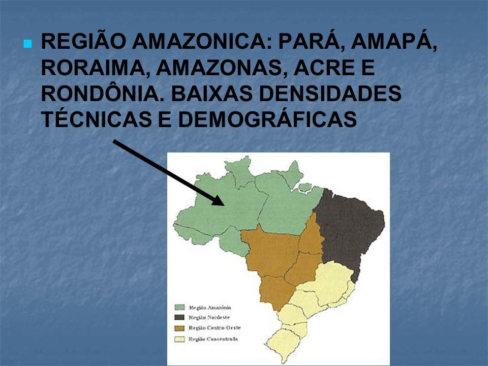 REGIÃO AMAZONICA: PARÁ, AMAPÁ, RORAIMA, AMAZONAS, ACRE E RONDÔNIA. BAIXAS DENSIDADES TÉCNICAS E DEMOGRÁFICAS