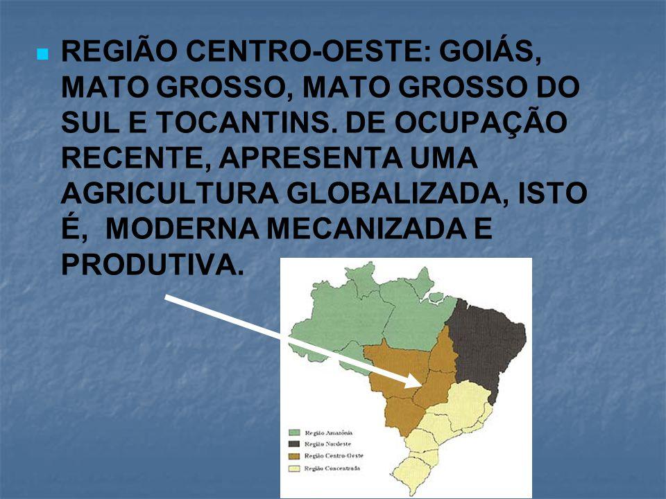 REGIÃO CENTRO-OESTE: GOIÁS, MATO GROSSO, MATO GROSSO DO SUL E TOCANTINS. DE OCUPAÇÃO RECENTE, APRESENTA UMA AGRICULTURA GLOBALIZADA, ISTO É, MODERNA M