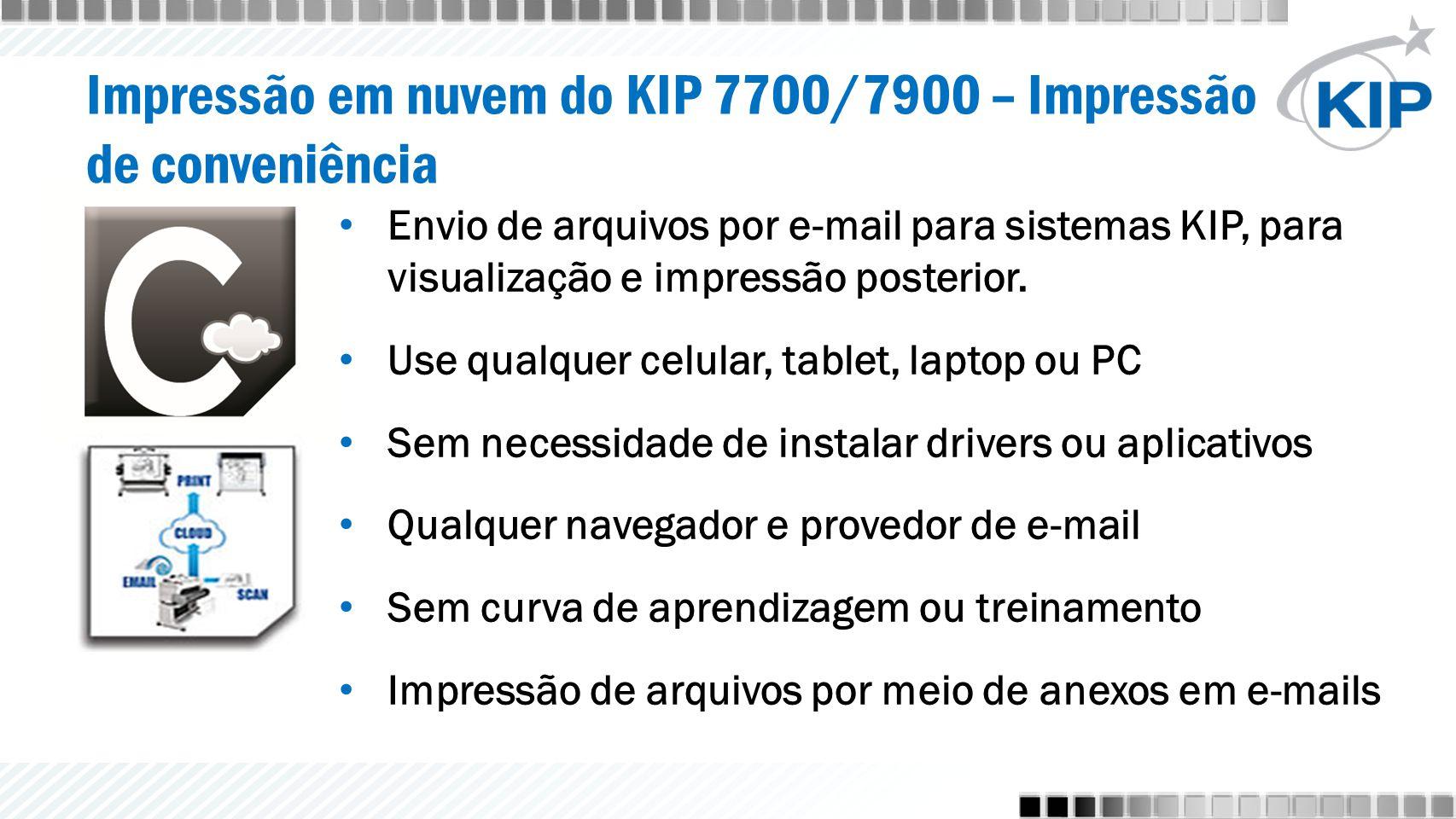 Impressão em nuvem do KIP 7700/7900 – Impressão de conveniência Envio de arquivos por e-mail para sistemas KIP, para visualização e impressão posterio