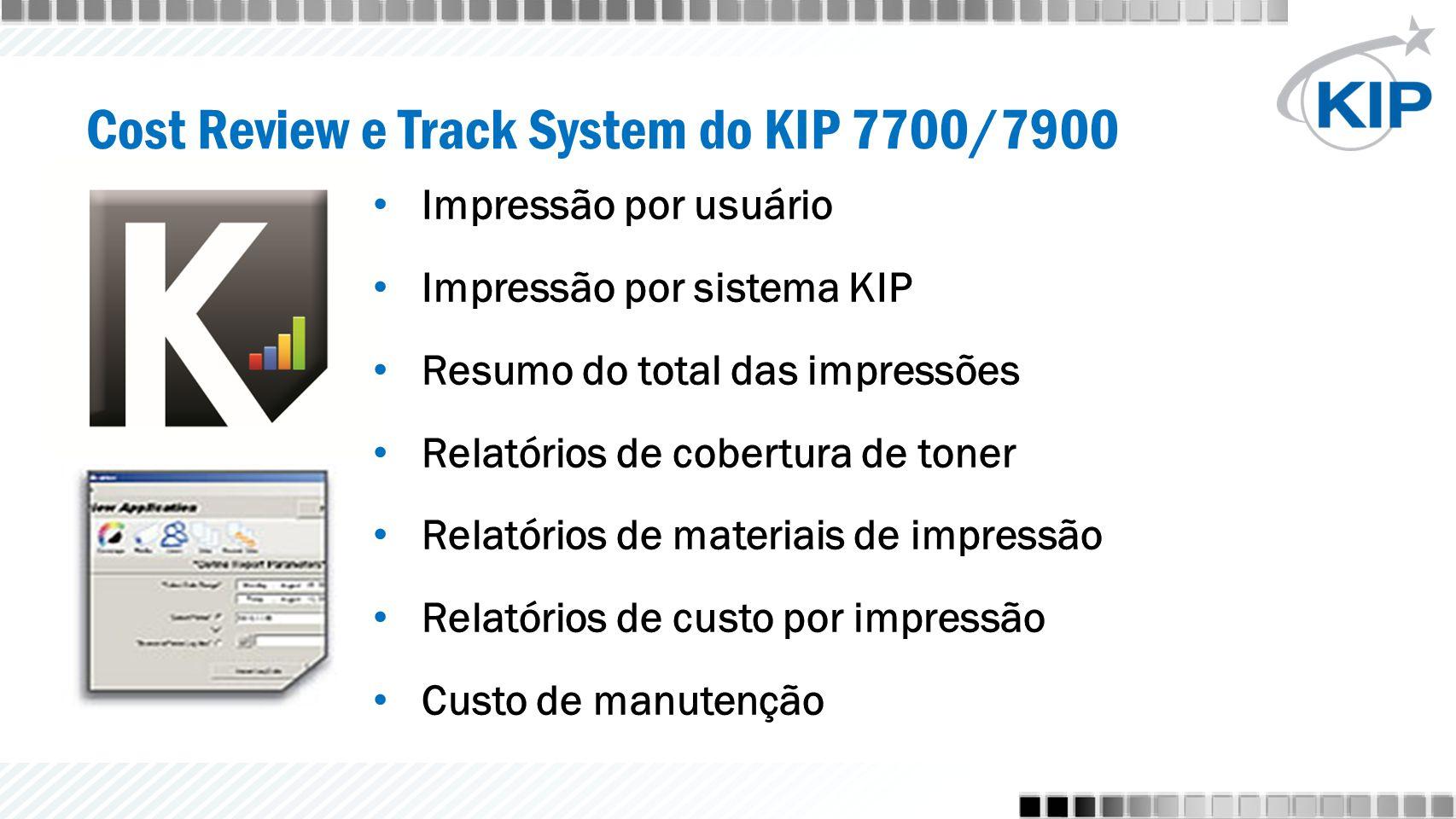 Impressão por usuário Impressão por sistema KIP Resumo do total das impressões Relatórios de cobertura de toner Relatórios de materiais de impressão Relatórios de custo por impressão Custo de manutenção