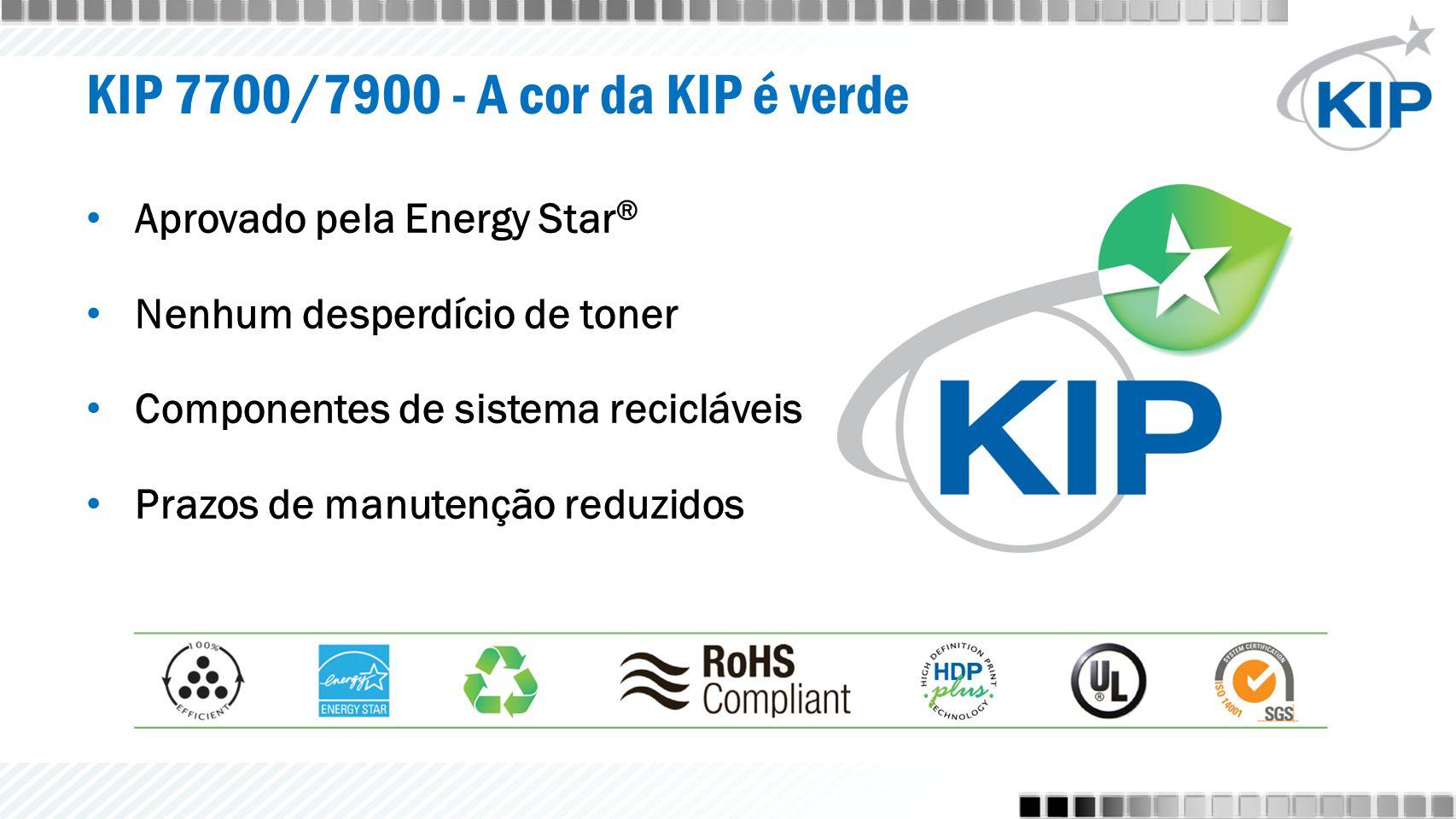 KIP 7700/7900 - A cor da KIP é verde Aprovado pela Energy Star ® Nenhum desperdício de toner Componentes de sistema recicláveis Prazos de manutenção reduzidos