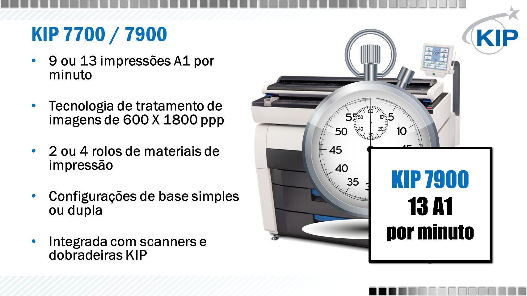KIP 7700 9 A1 por minuto KIP 7700 9 A1 por minuto KIP 7900 13 A1 por minuto KIP 7900 13 A1 por minuto KIP 7700 / 7900 9 ou 13 impressões A1 por minuto Tecnologia de tratamento de imagens de 600 X 1800 ppp 2 ou 4 rolos de materiais de impressão Configurações de base simples ou dupla Integrada com scanners e dobradeiras KIP