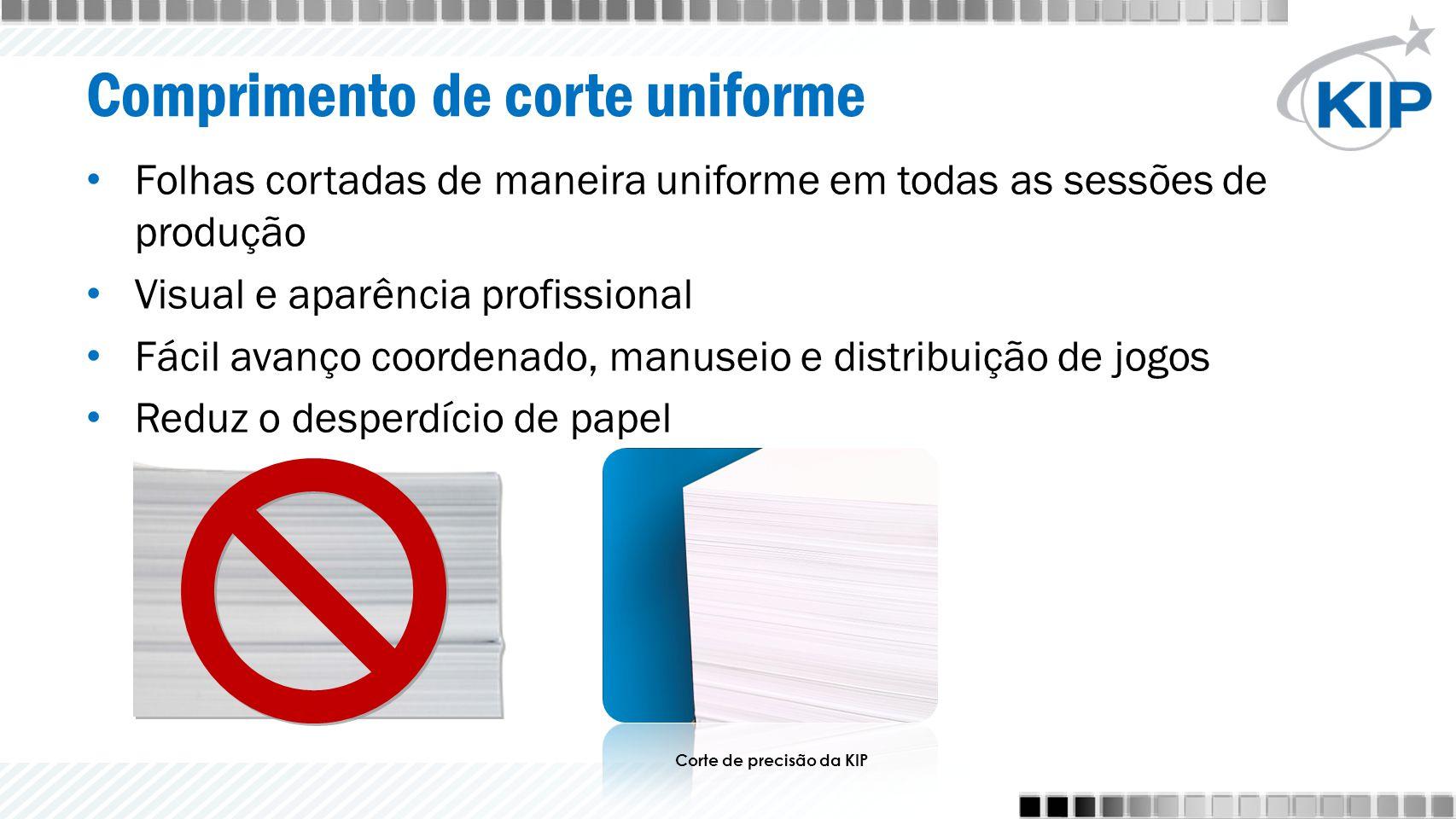 Comprimento de corte uniforme Folhas cortadas de maneira uniforme em todas as sessões de produção Visual e aparência profissional Fácil avanço coorden