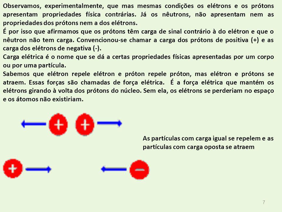 7 Observamos, experimentalmente, que mas mesmas condições os elétrons e os prótons apresentam propriedades física contrárias. Já os nêutrons, não apre