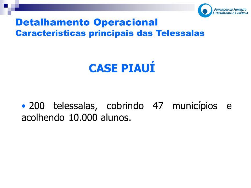 CASE PIAUÍ 200 telessalas, cobrindo 47 municípios e acolhendo 10.000 alunos.