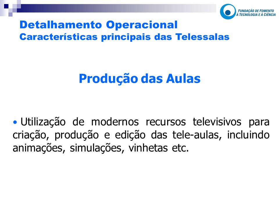Produção das Aulas Utilização de modernos recursos televisivos para criação, produção e edição das tele-aulas, incluindo animações, simulações, vinhetas etc.