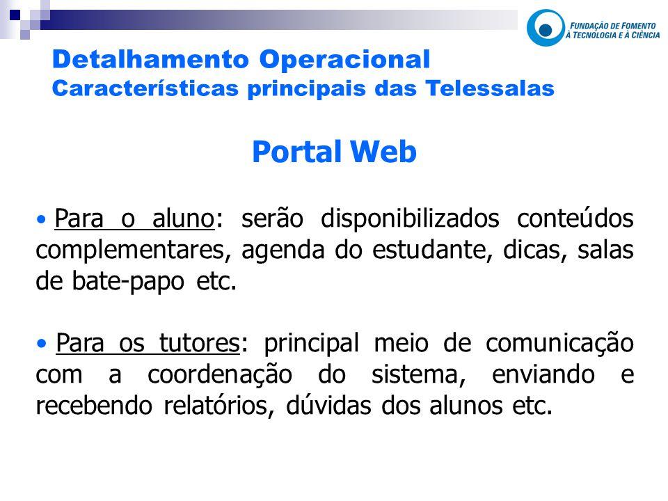 Portal Web Para o aluno: serão disponibilizados conteúdos complementares, agenda do estudante, dicas, salas de bate-papo etc.