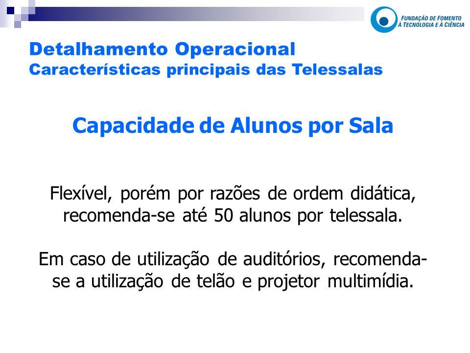 Capacidade de Alunos por Sala Flexível, porém por razões de ordem didática, recomenda-se até 50 alunos por telessala.