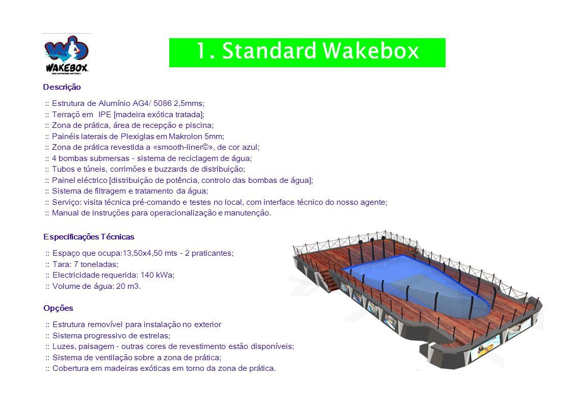 Descrição :: Estrutura de Alumínio AG4/ 5086 2,5mms; :: Terraçõ em IPE [madeira exótica tratada]; :: Zona de prática, área de recepção e piscina; :: Painéis laterais de Plexiglas em Makrolon 5mm; :: Zona de prática revestida a «smooth-liner©», de cor azul; :: 4 bombas submersas - sistema de reciclagem de água; :: Tubos e túneis, corrimões e buzzards de distribuição; :: Painel eléctrico [distribuição de potência, controlo das bombas de água]; :: Sistema de filtragem e tratamento da água; :: Serviço: visita técnica pré-comando e testes no local, com interface técnico do nosso agente; :: Manual de instruções para operacionalização e manutenção.