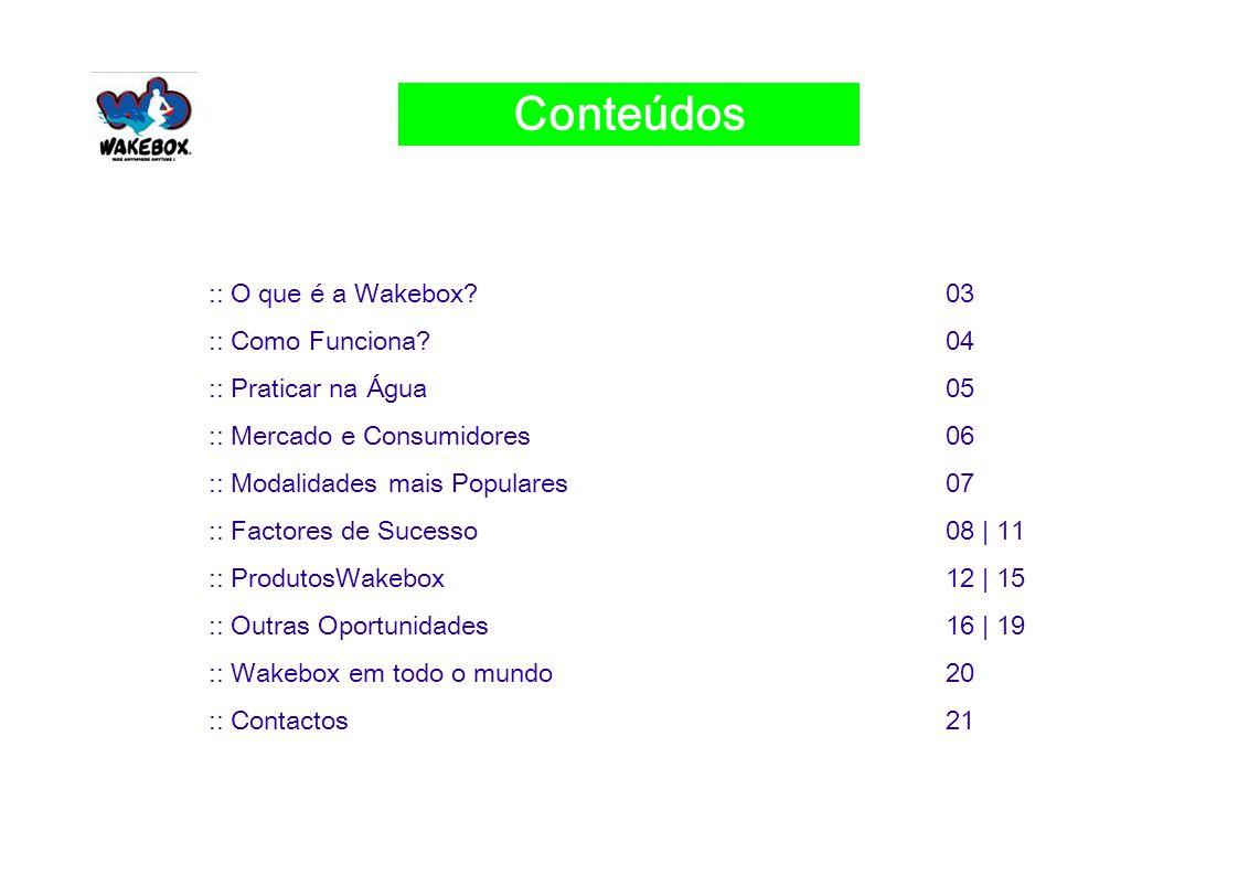 :: O que é a Wakebox 03 :: Como Funciona 04 :: Praticar na Água05 :: Mercado e Consumidores06 :: Modalidades mais Populares07 :: Factores de Sucesso08 | 11 :: ProdutosWakebox12 | 15 :: Outras Oportunidades16 | 19 :: Wakebox em todo o mundo20 :: Contactos21 3 Conteúdos