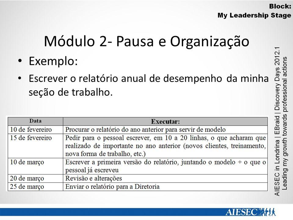 Módulo 2- Pausa e Organização Exemplo: Escrever o relatório anual de desempenho da minha seção de trabalho.