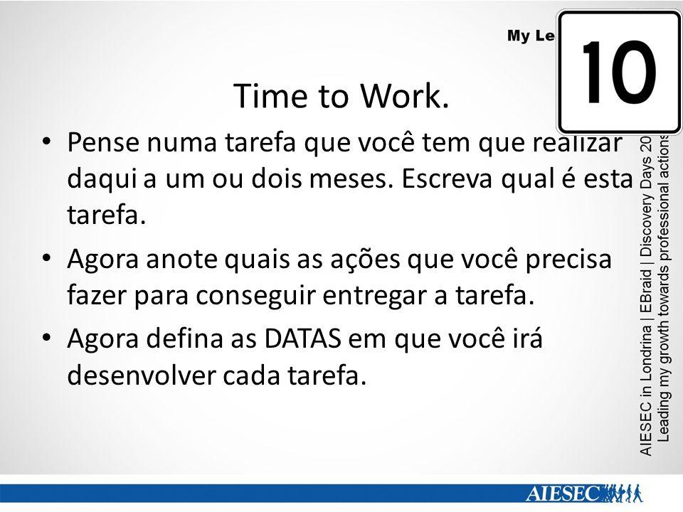 Time to Work. Pense numa tarefa que você tem que realizar daqui a um ou dois meses. Escreva qual é esta tarefa. Agora anote quais as ações que você pr