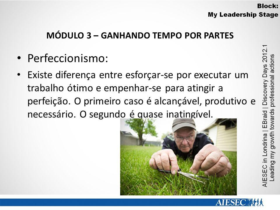 MÓDULO 3 – GANHANDO TEMPO POR PARTES Perfeccionismo: Existe diferença entre esforçar-se por executar um trabalho ótimo e empenhar-se para atingir a pe