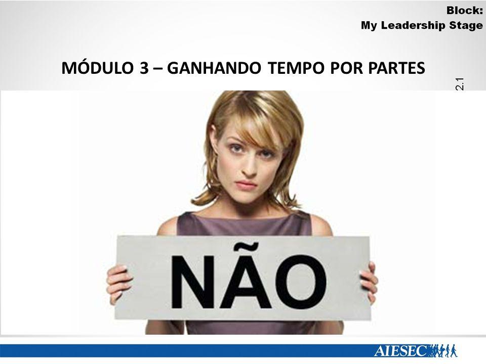 MÓDULO 3 – GANHANDO TEMPO POR PARTES Diga Não!! O uso da palavra não é uma eficaz ferramenta de economia de tempo. Aprenda a recusar, com educação mas