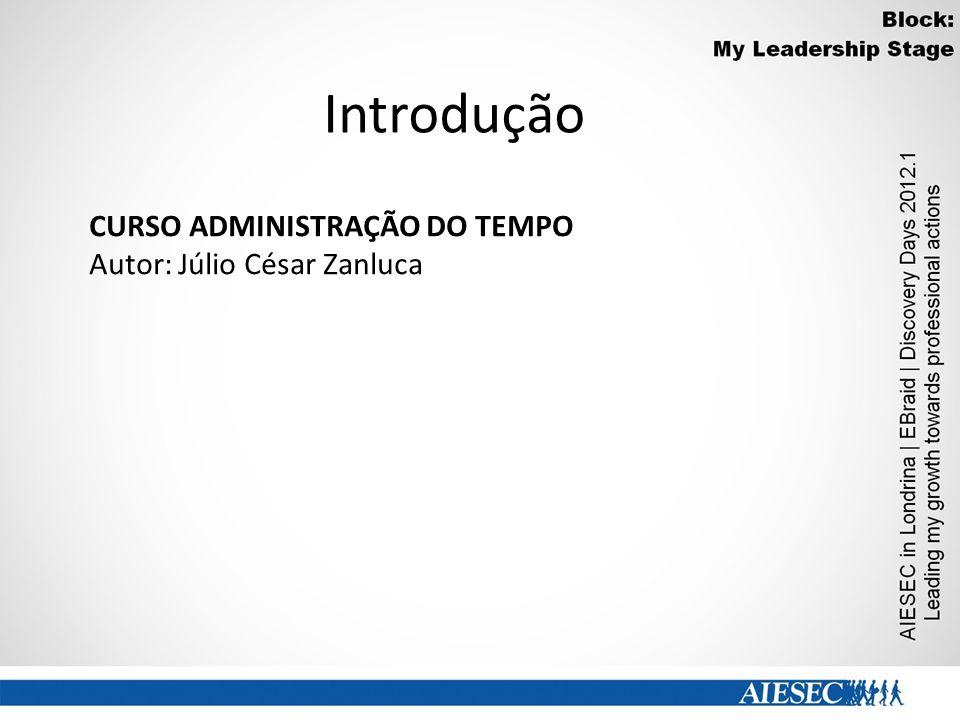 Introdução CURSO ADMINISTRAÇÃO DO TEMPO Autor: Júlio César Zanluca
