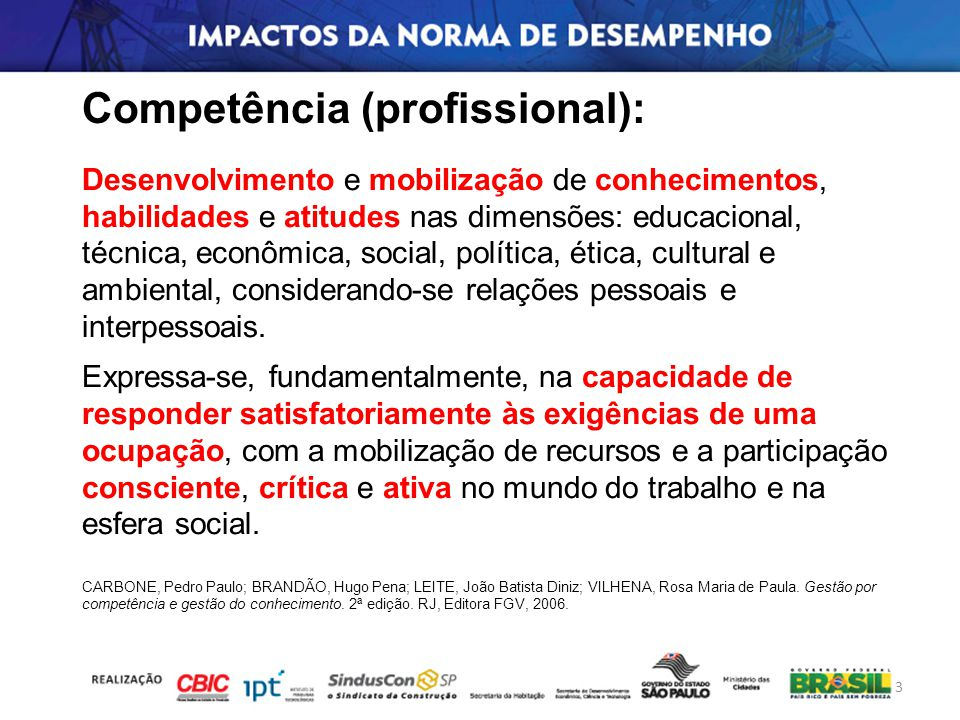 Competência (profissional): Com a implantação da Norma de Desempenho, quais conhecimentos, habilidades e atitudes desenvolver e mobilizar nos diferentes profissionais (ocupações) envolvidos nos empreendimentos.