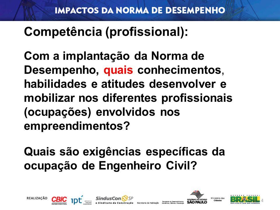 Competência (profissional): Com a implantação da Norma de Desempenho, quais conhecimentos, habilidades e atitudes desenvolver e mobilizar nos diferent