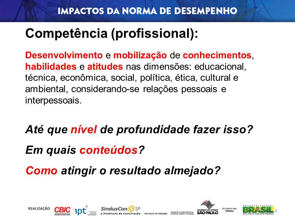 Desenvolvimento e mobilização de conhecimentos, habilidades e atitudes nas dimensões: educacional, técnica, econômica, social, política, ética, cultur