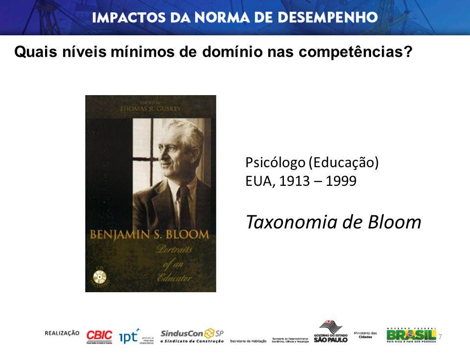 7 Psicólogo (Educação) EUA, 1913 – 1999 Taxonomia de Bloom Quais níveis mínimos de domínio nas competências?