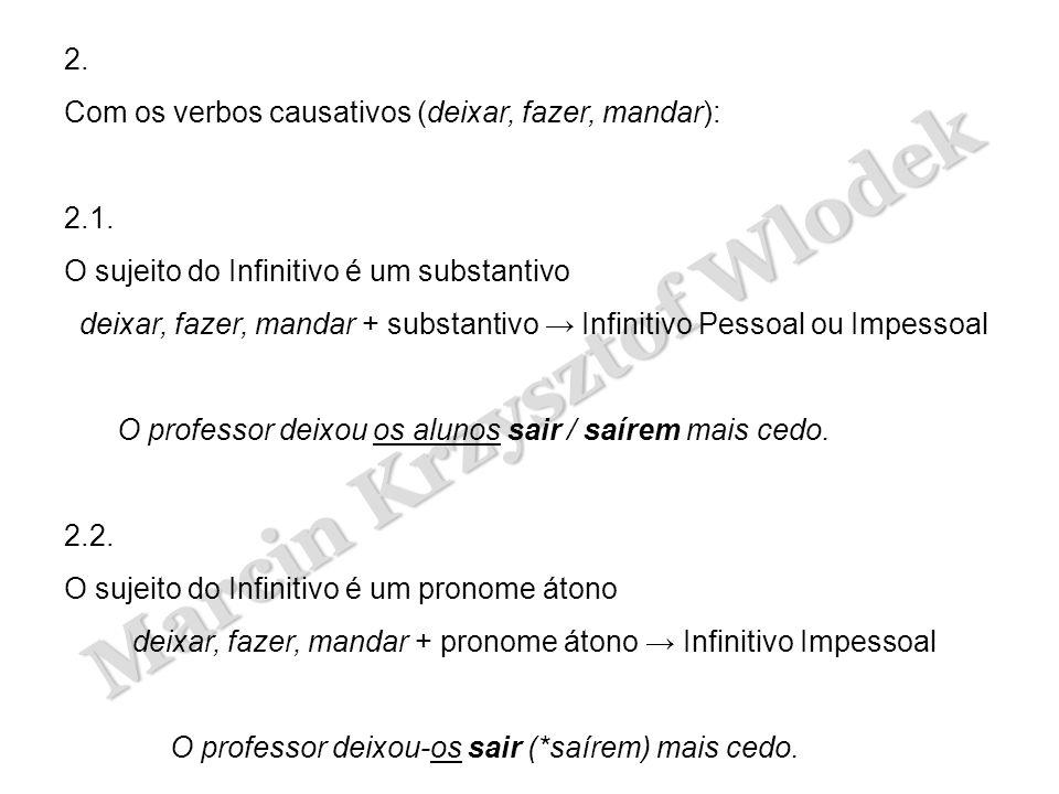 Marcin Krzysztof Wlodek 2. Com os verbos causativos (deixar, fazer, mandar): 2.1. O sujeito do Infinitivo é um substantivo deixar, fazer, mandar + sub