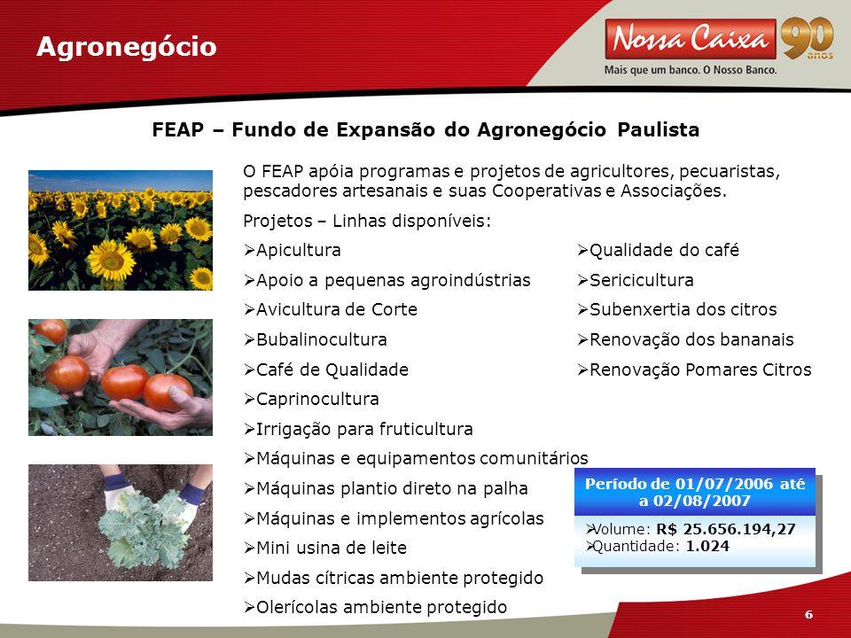 6 6 Agronegócio FEAP – Fundo de Expansão do Agronegócio Paulista O FEAP apóia programas e projetos de agricultores, pecuaristas, pescadores artesanais e suas Cooperativas e Associações.