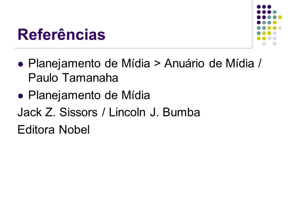 Referências Planejamento de Mídia > Anuário de Mídia / Paulo Tamanaha Planejamento de Mídia Jack Z. Sissors / Lincoln J. Bumba Editora Nobel