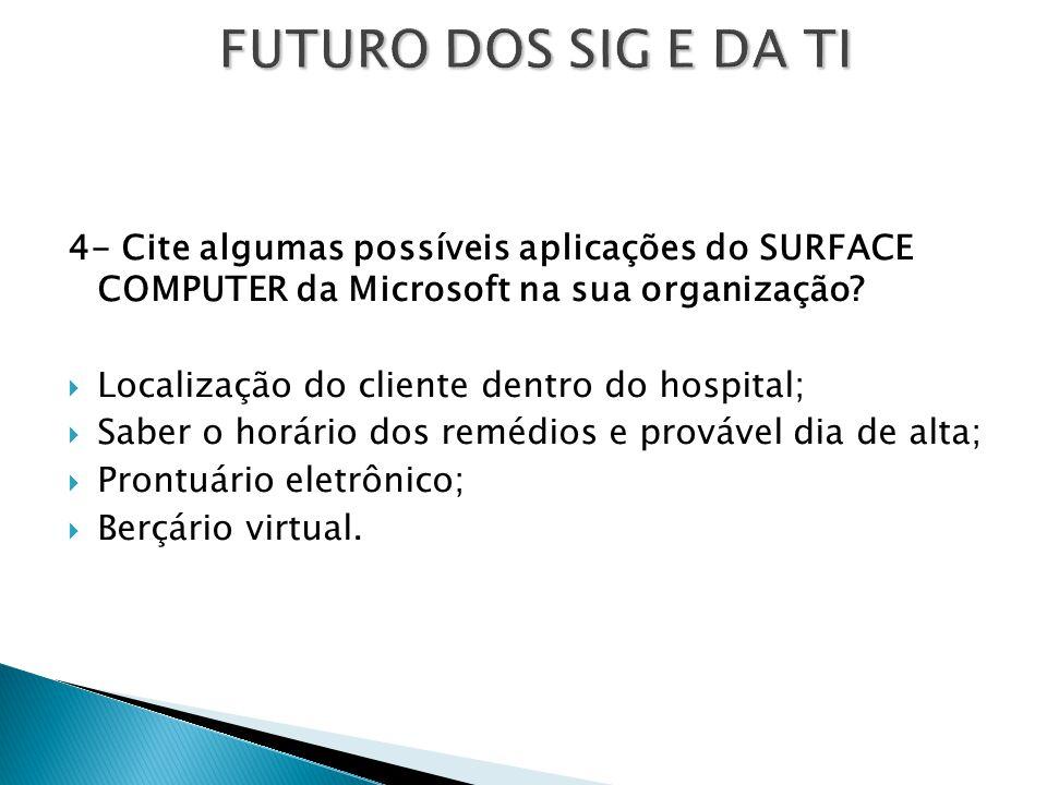 FUTURO DOS SIG E DA TI 4- Cite algumas possíveis aplicações do SURFACE COMPUTER da Microsoft na sua organização?  Localização do cliente dentro do ho